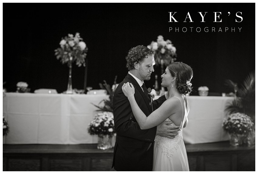 Bride and groom first dance during fall wedding in Burton michigan