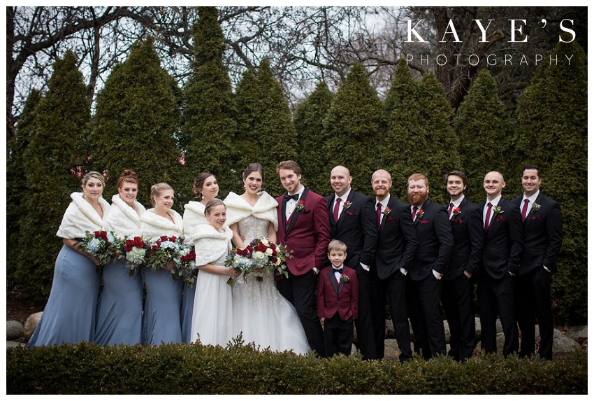 bridal party picture by kayes photography at crystal gardens