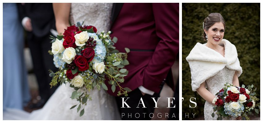 blue and burgundy winter wedding at crystal gardens in howell michigan
