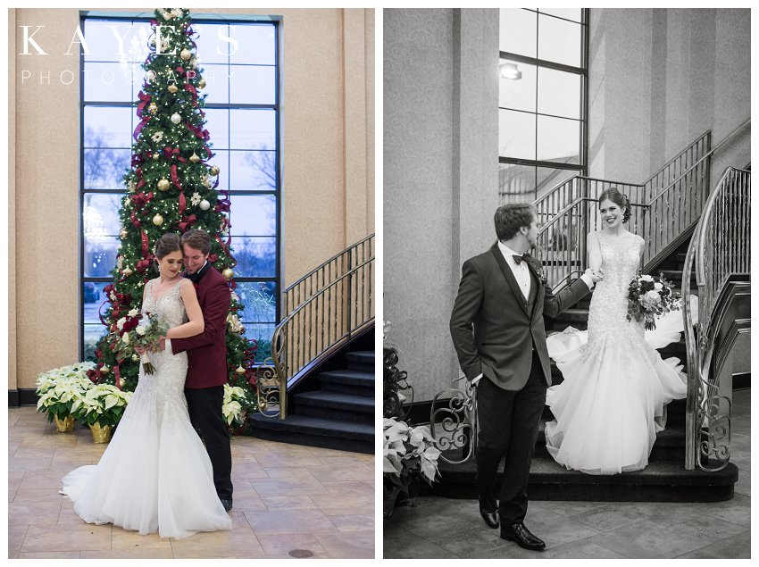 blue and burgundy wedding at crystal gardens by kaye's photography