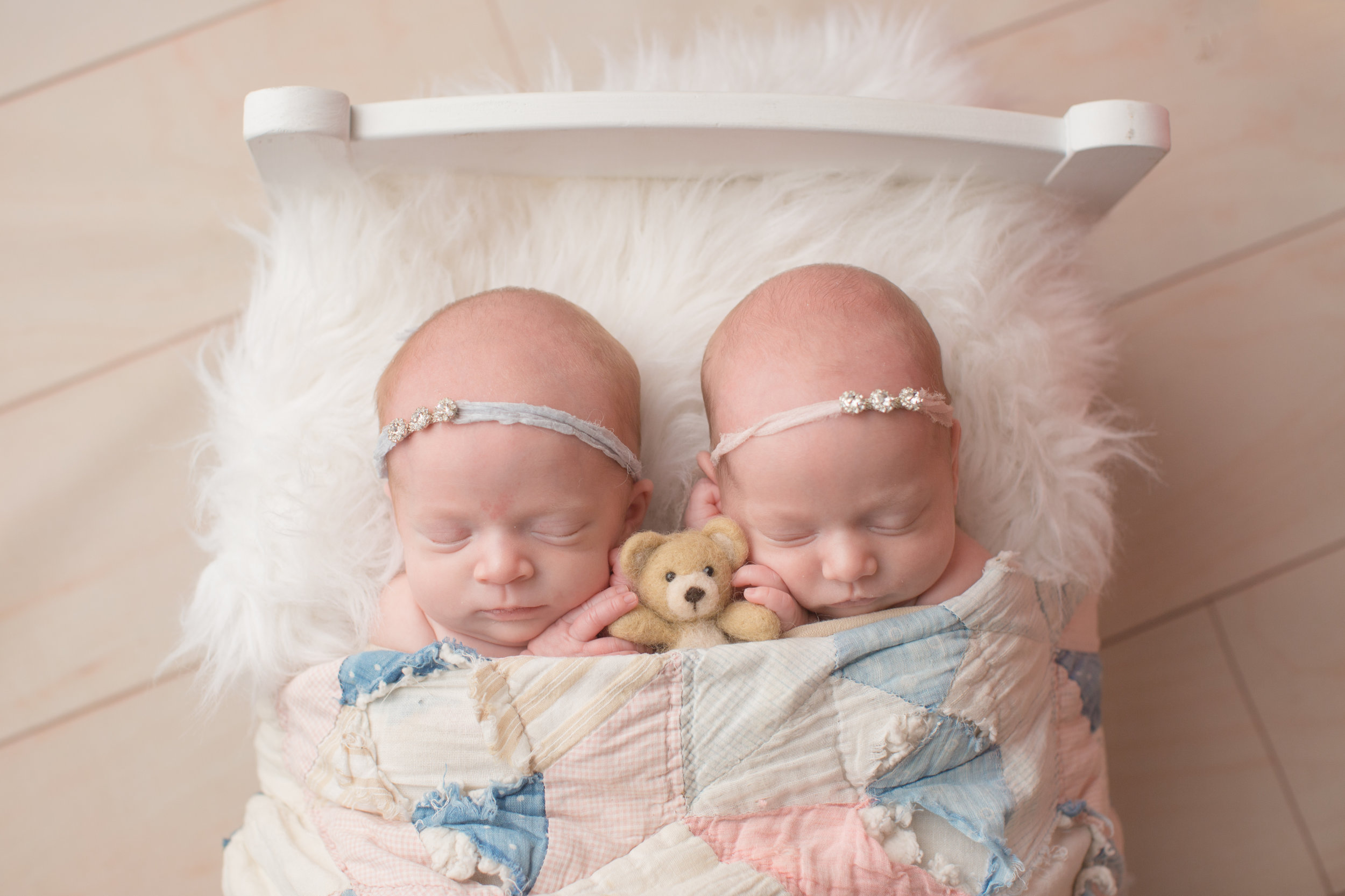 Twin baby girls holding bear during newborn portraits in grand blanc michigan