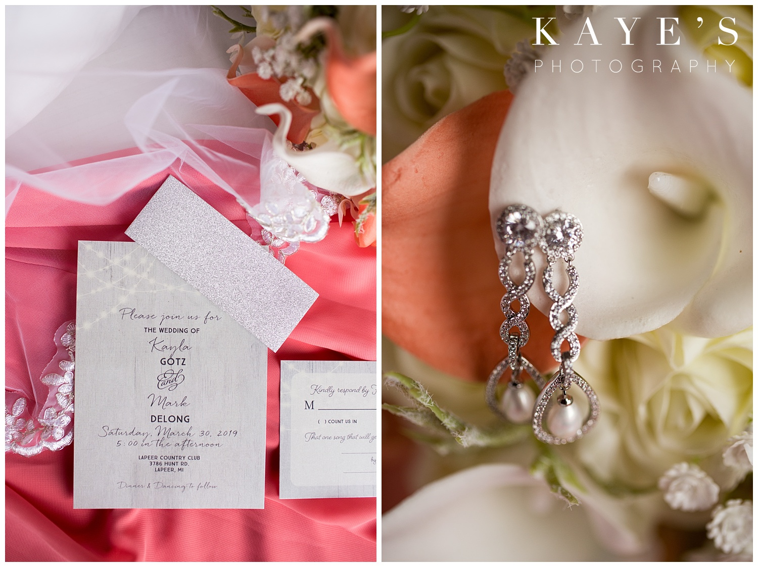 Bride details in lapeer country club captured by kaye's photography