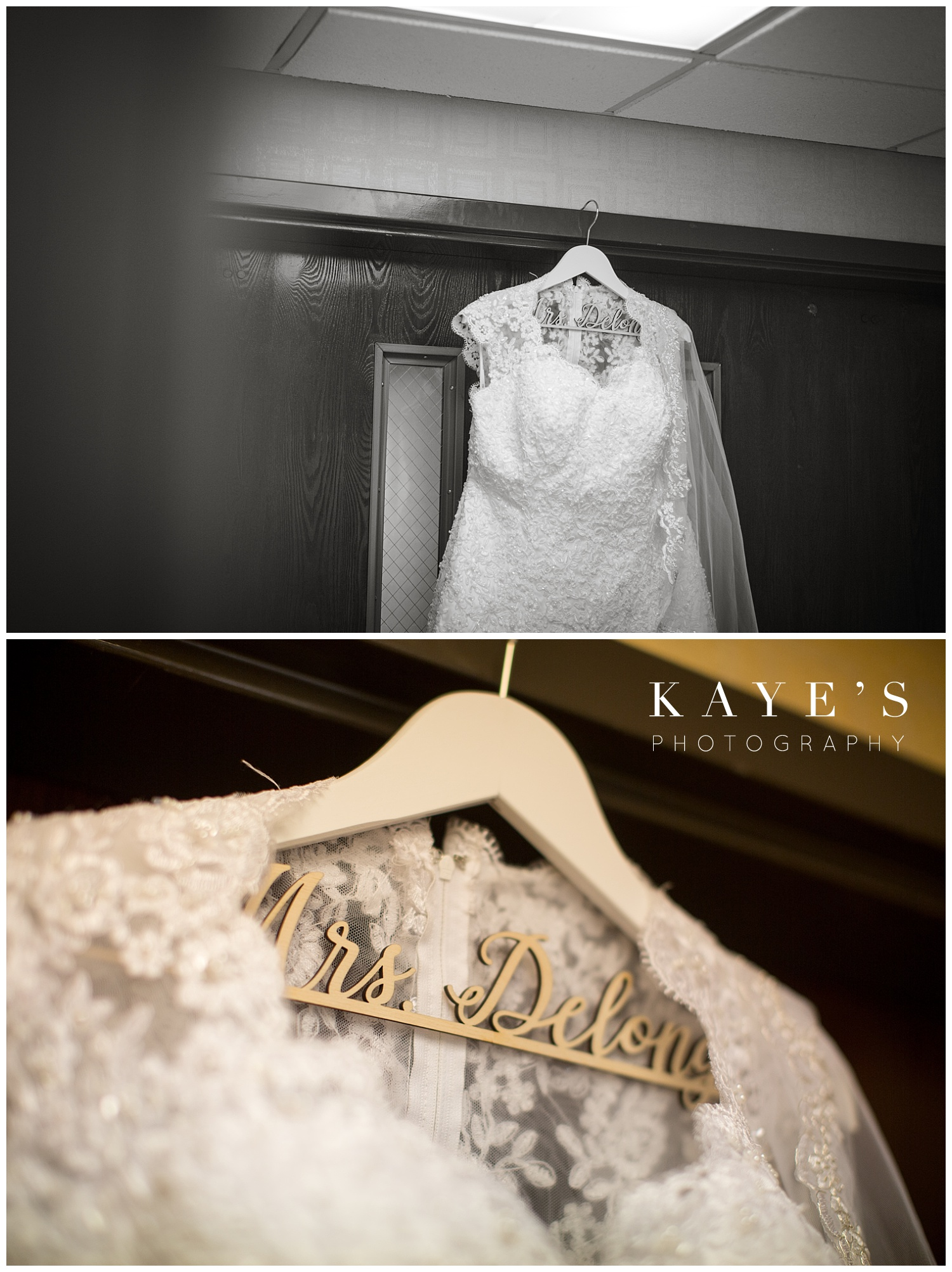 brides dress hanging before davison michigan wedding by kaye's photography