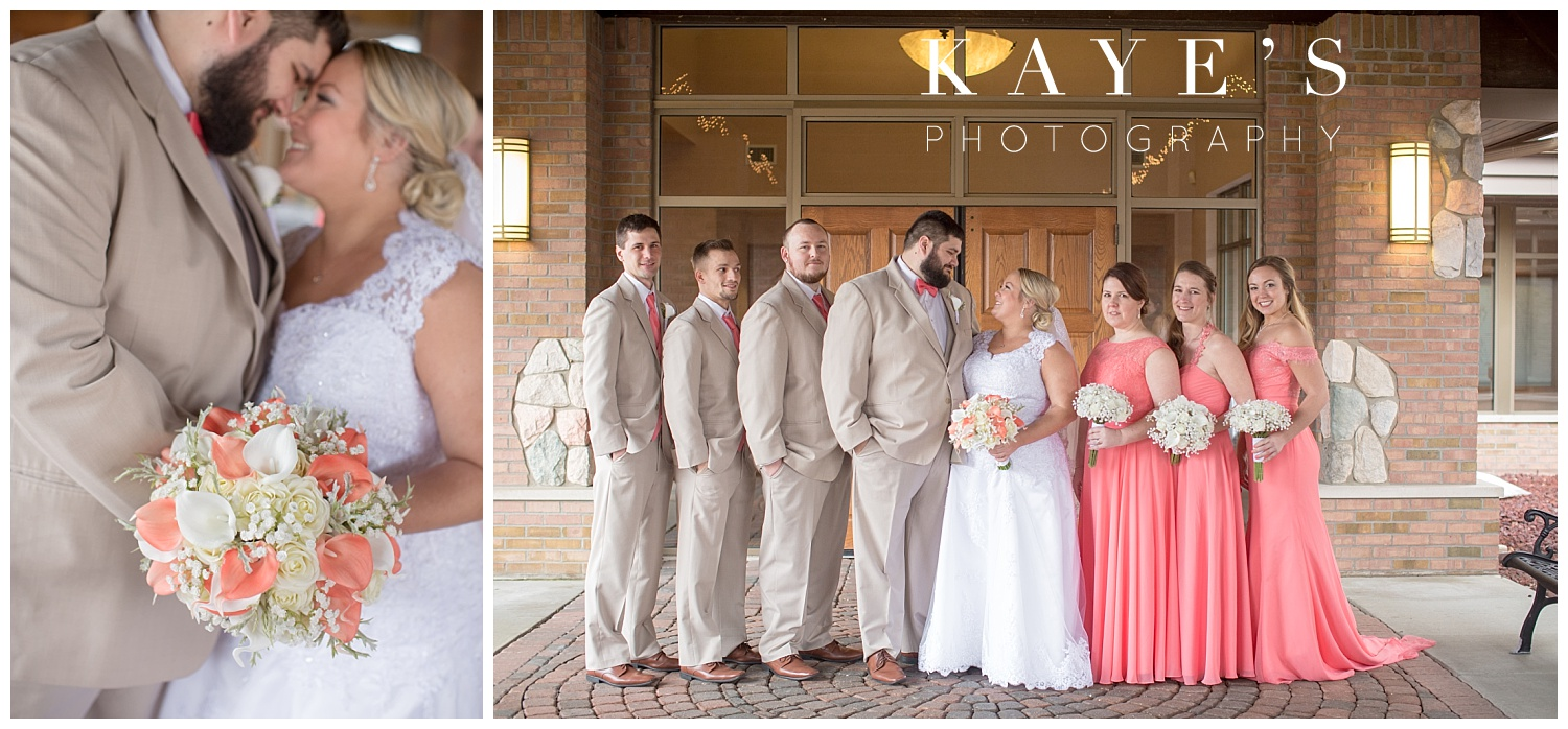 up close of bride and groom during bridal party portraits by kaye's photography