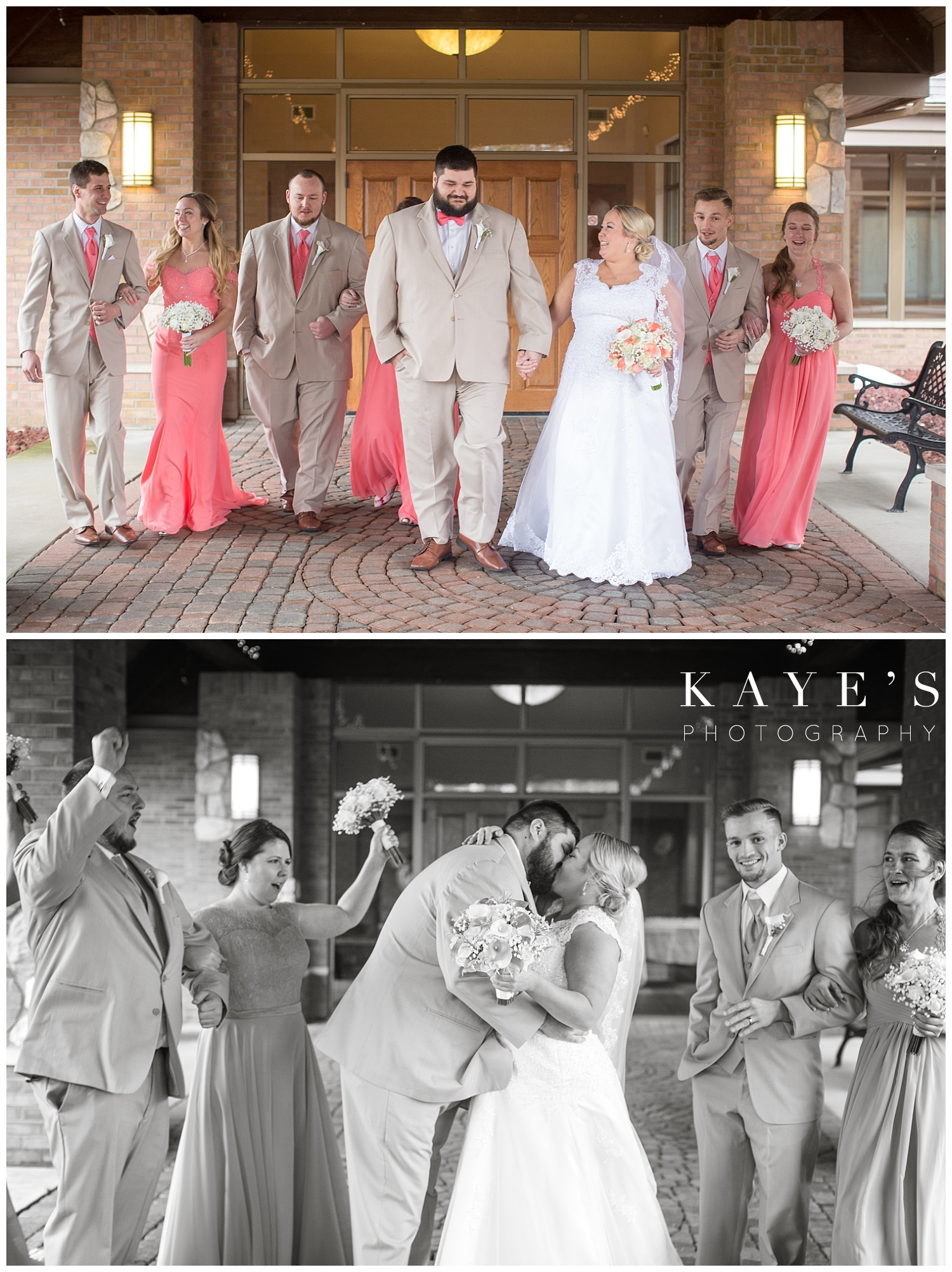 wedding photos by kaye's photography at lapeer county club with bridal party naturally posed