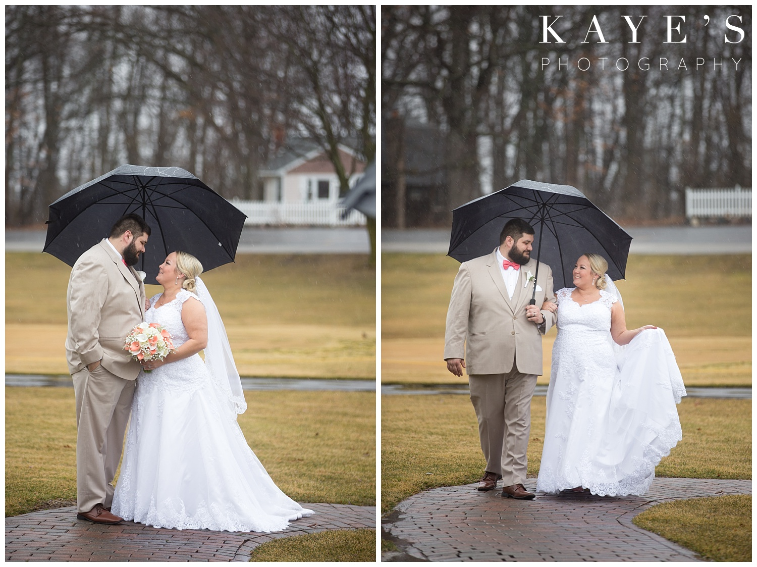 bride and groom portraits in the rain with umbrella in michigan spring wedding by kaye's photography