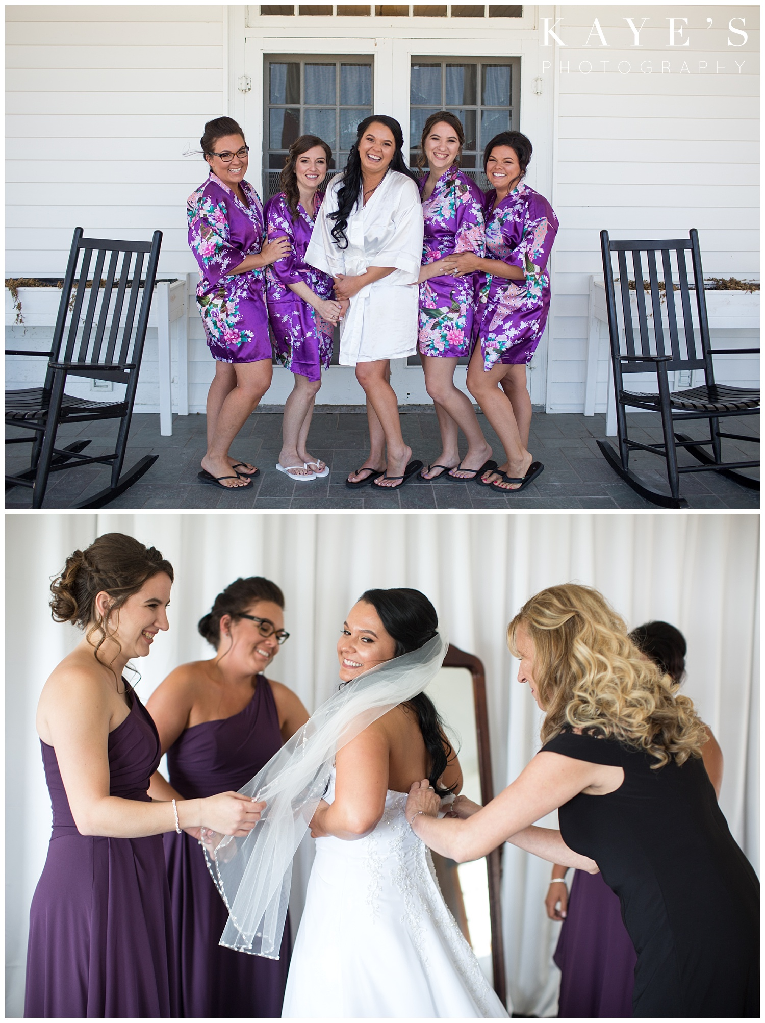 bride and bridesmaid in purple robes at waldenwoods resort