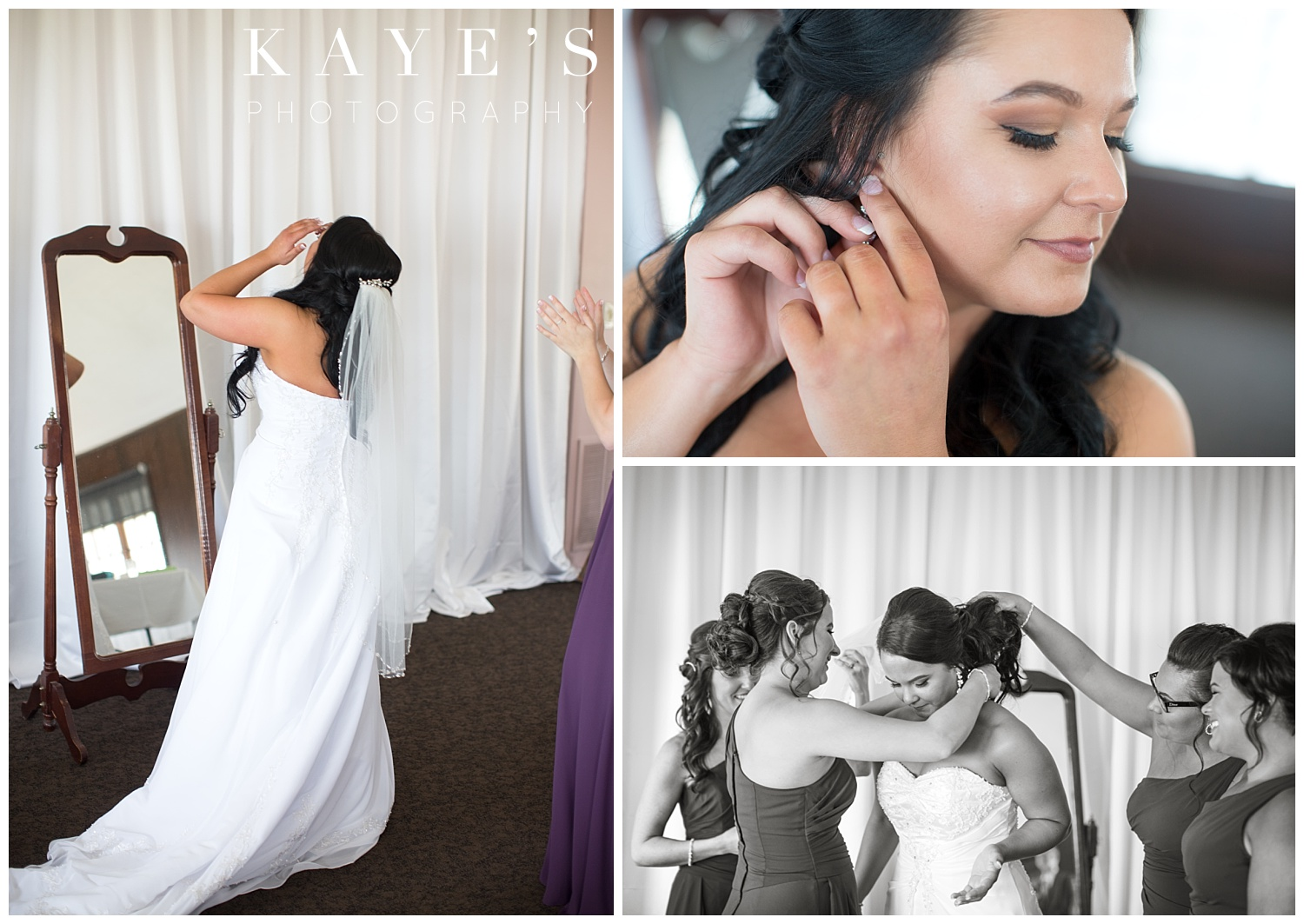 bride getting ready before wedding ceremony at waldenwoods in howell michigan