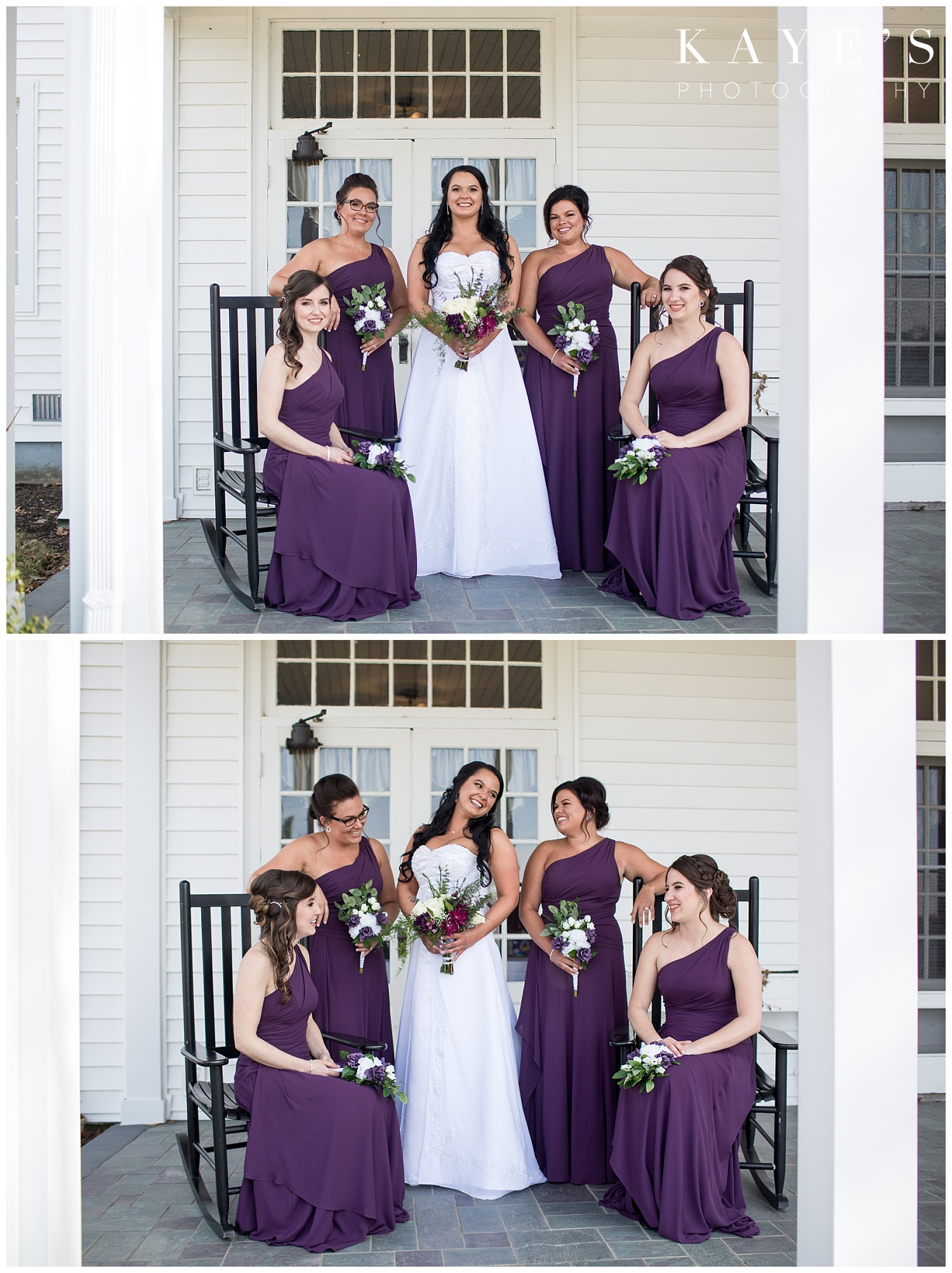 bride and bridesmaid pictures at waldenwoods in purple