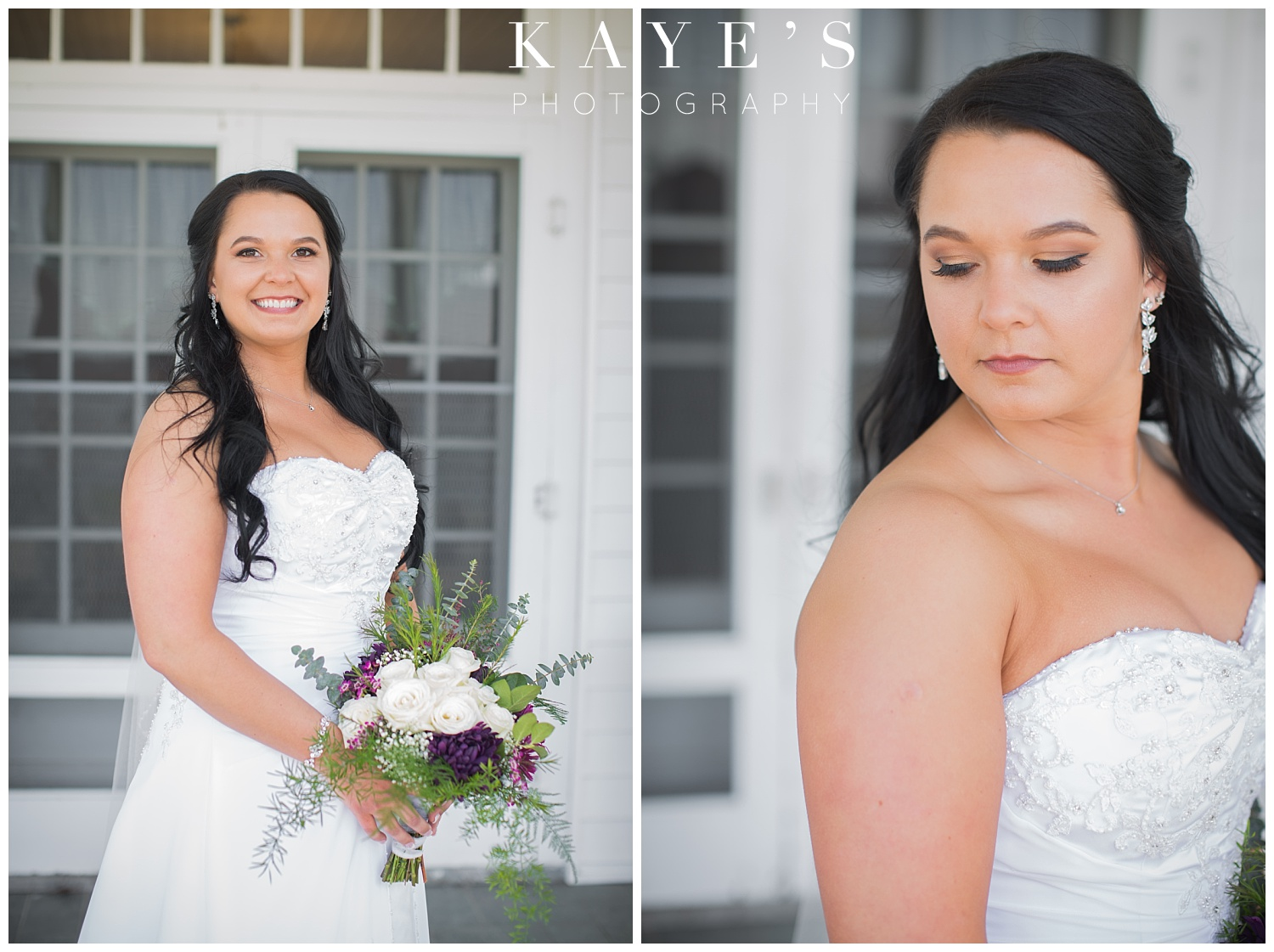 bride in pictures before ceremony at waldenwoods resort