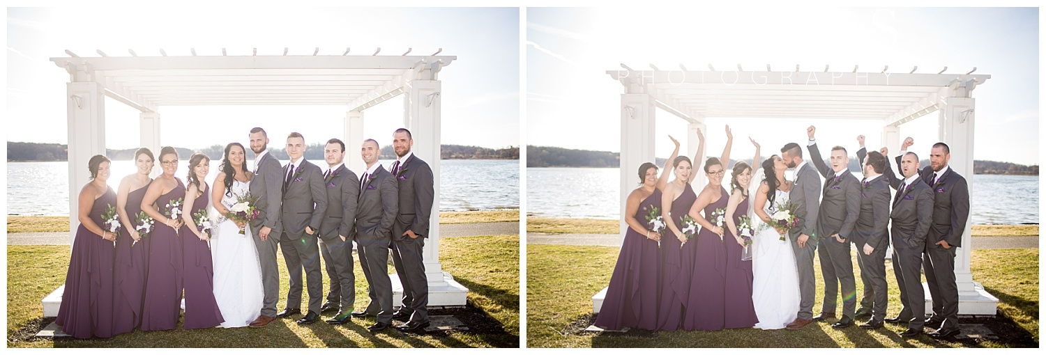 bridal party in front of lake at waldenwoods resort in howell michigan