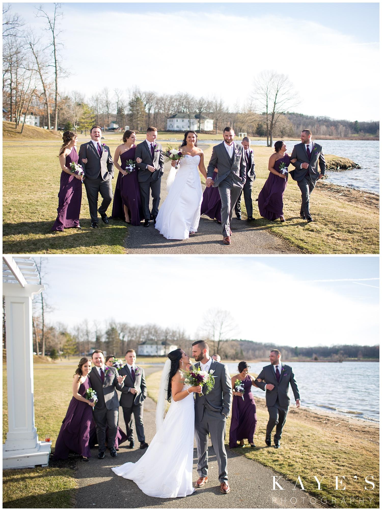 bridal party during wedding photos at waldenwoods resort