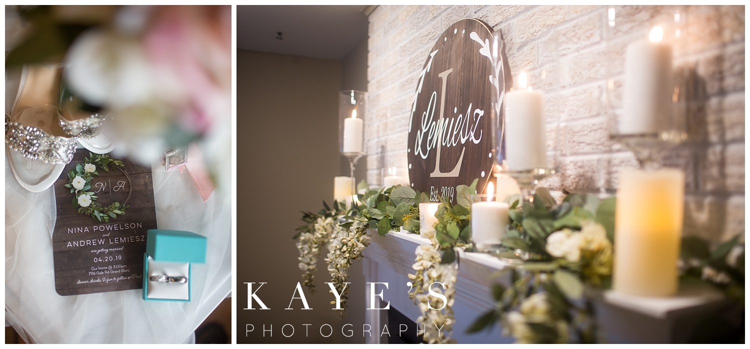 wedding decor on a fireplace for a small intimate wedding in grand blanc Michigan