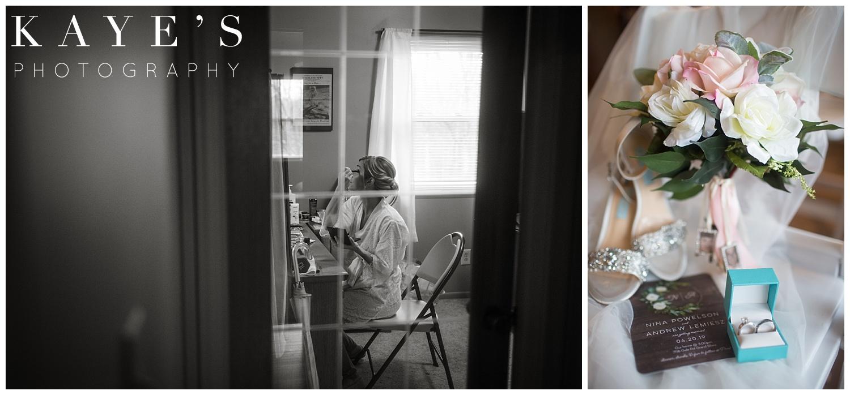 bride getting ready before a small intimate ceremony in grand blanc michigan