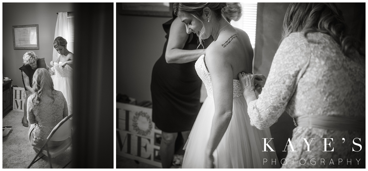 bride getting ready for small intimate wedding in grand blanc michigan