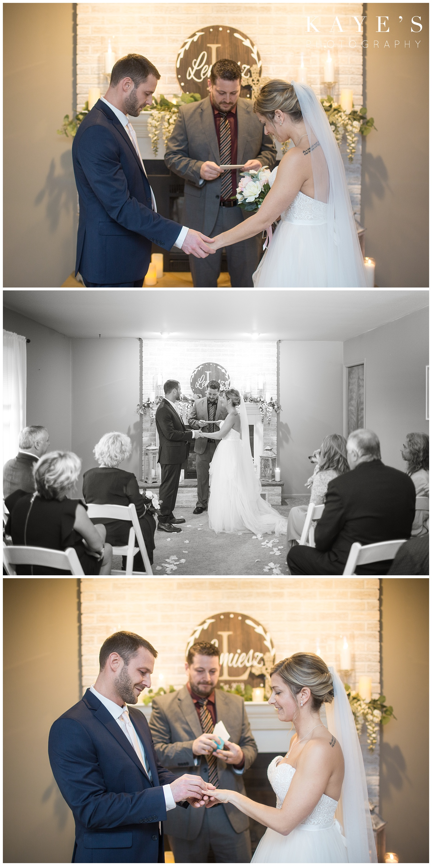 bride and groom during wedding ceremony in their home in grand blanc michigan