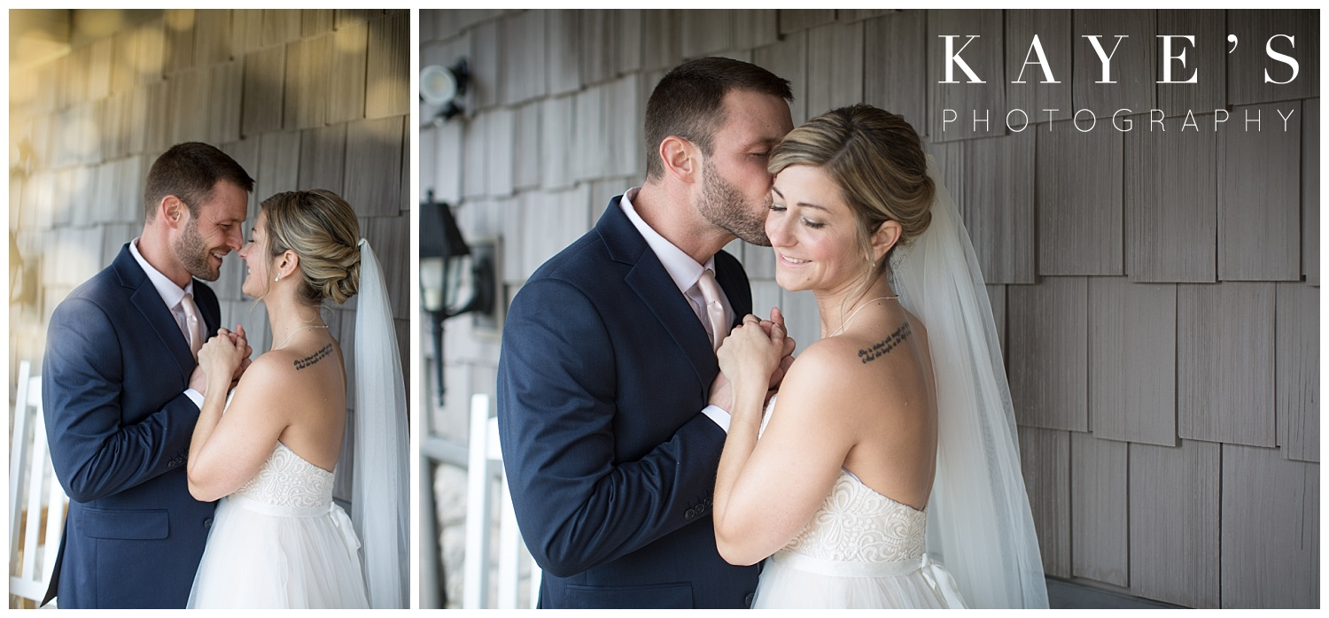 wedding photos on porch of a small intimate wedding in grand blanc michigan photographer