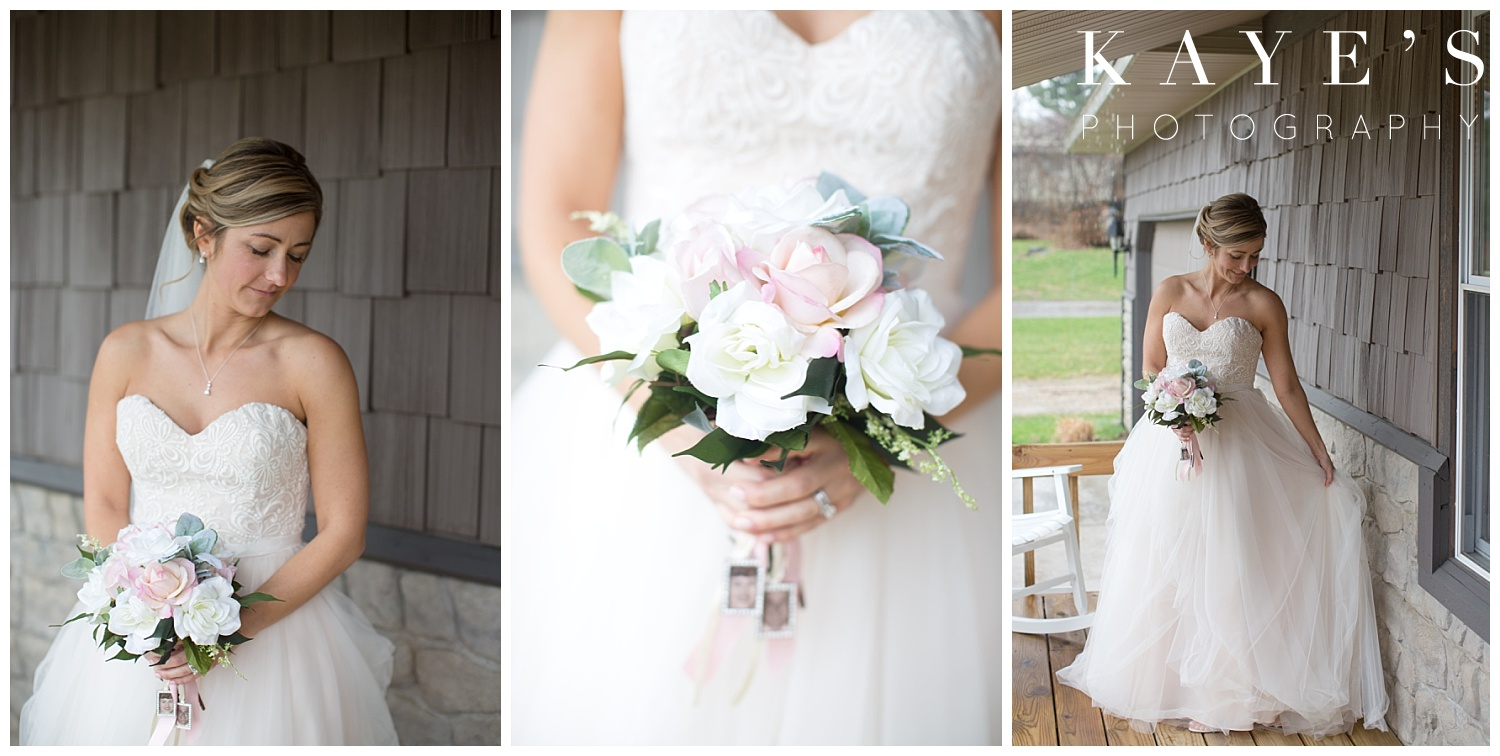 bridal portraits during a small intimate wedding in grand blanc michigan