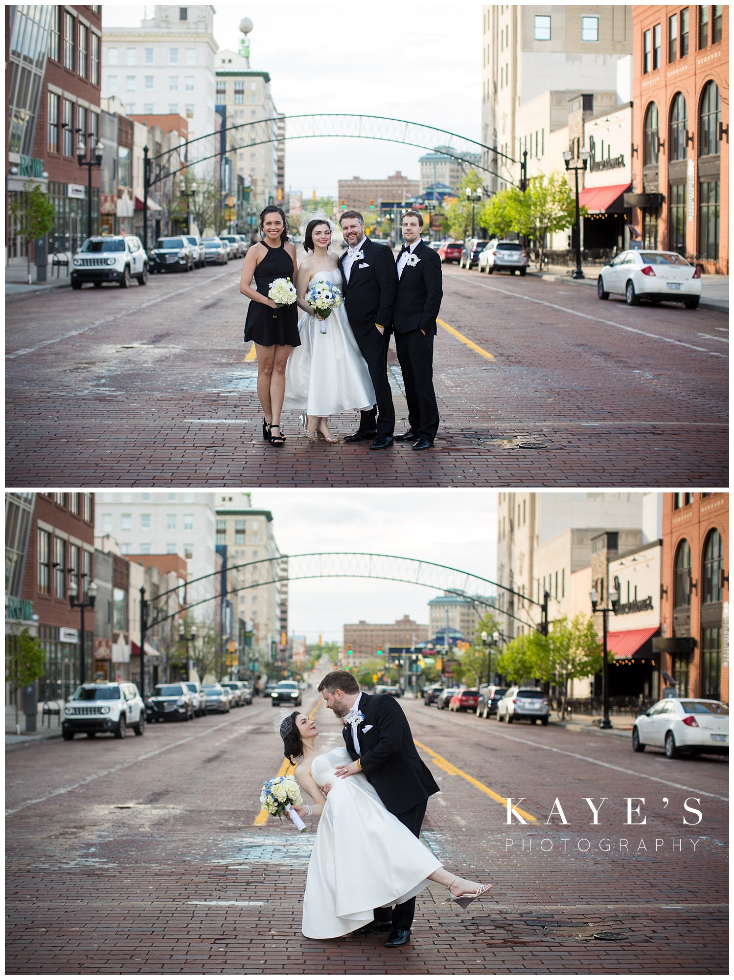 bridal party photo in the street of flint michigan after the wedding ceremony