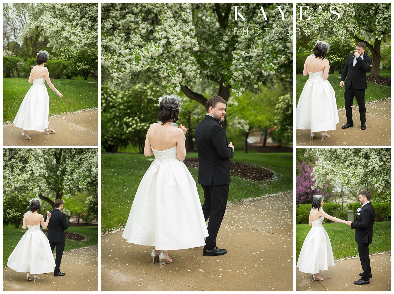 first look in front of flowering trees in flint, michigan before wedding ceremony