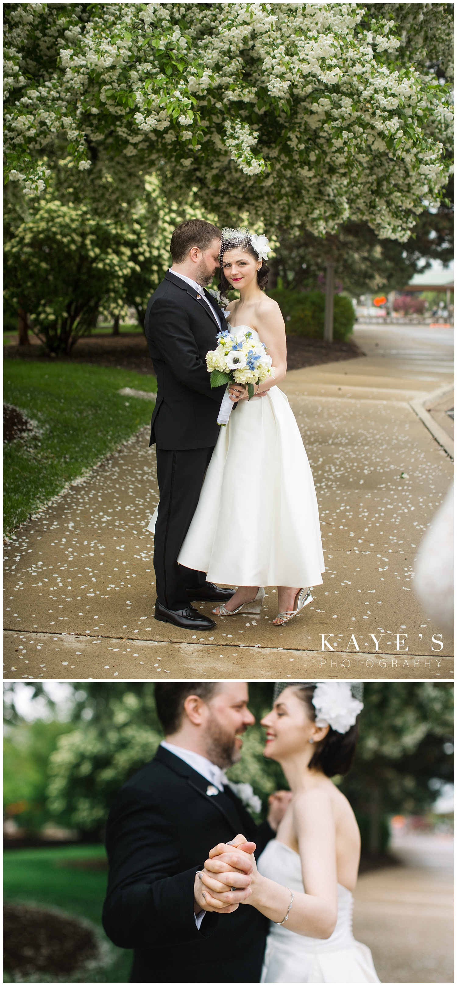 bride and groom photos after first look under flowering trees in flint michigan
