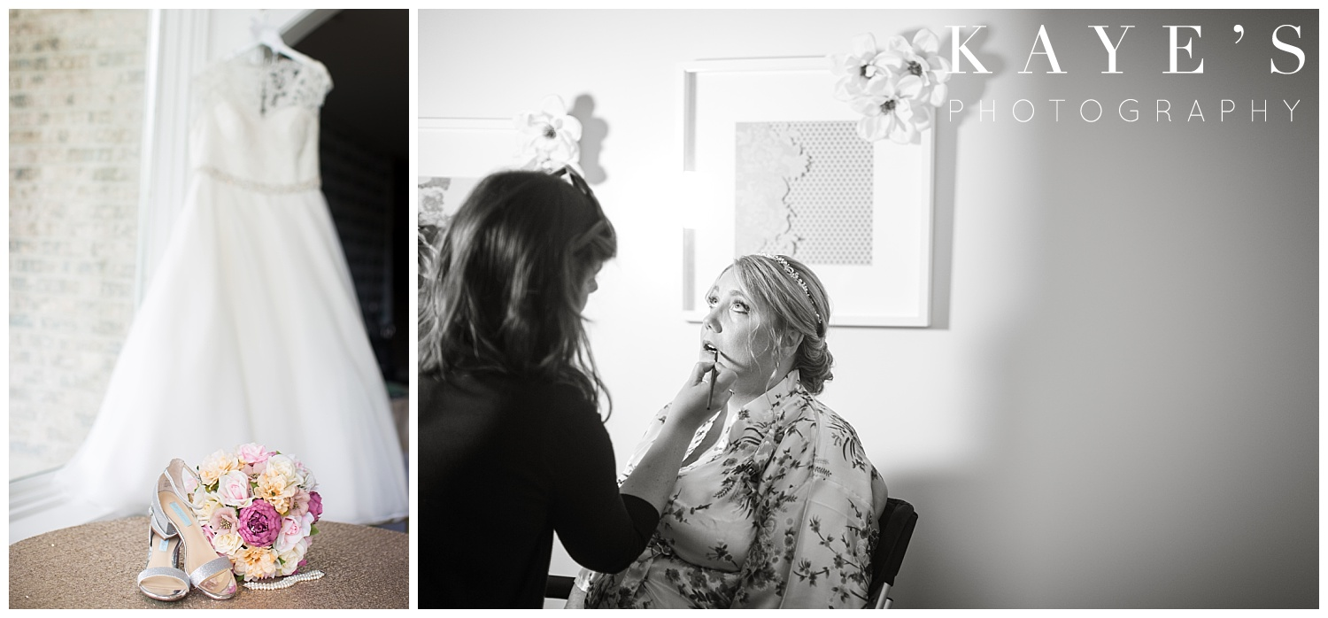 wedding dress with brides details while bride is getting ready in flushing, michigan