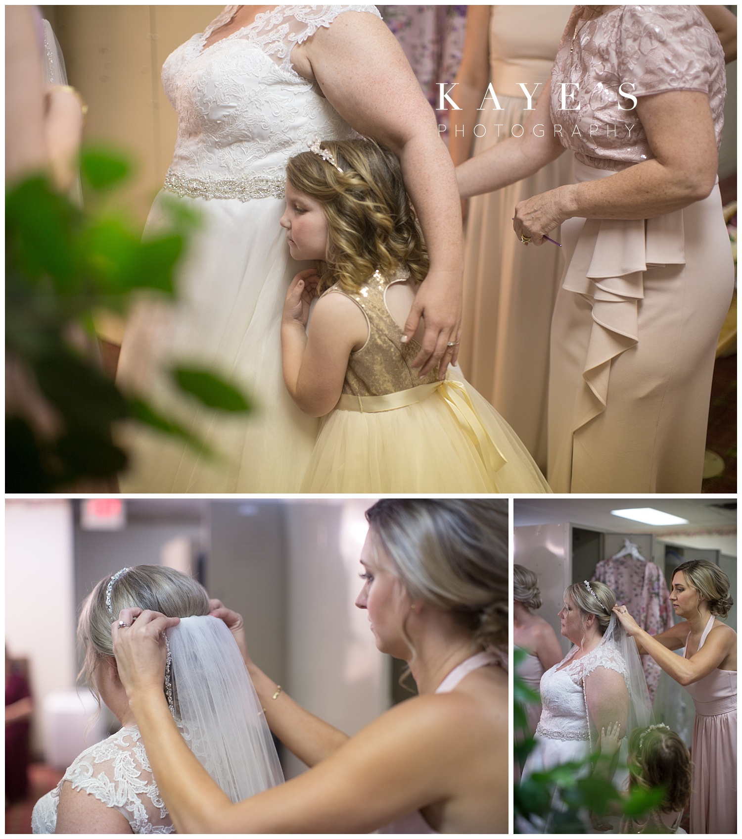 bride getting ready with bridesmaids and flower girl before wedding in flushing, michigan