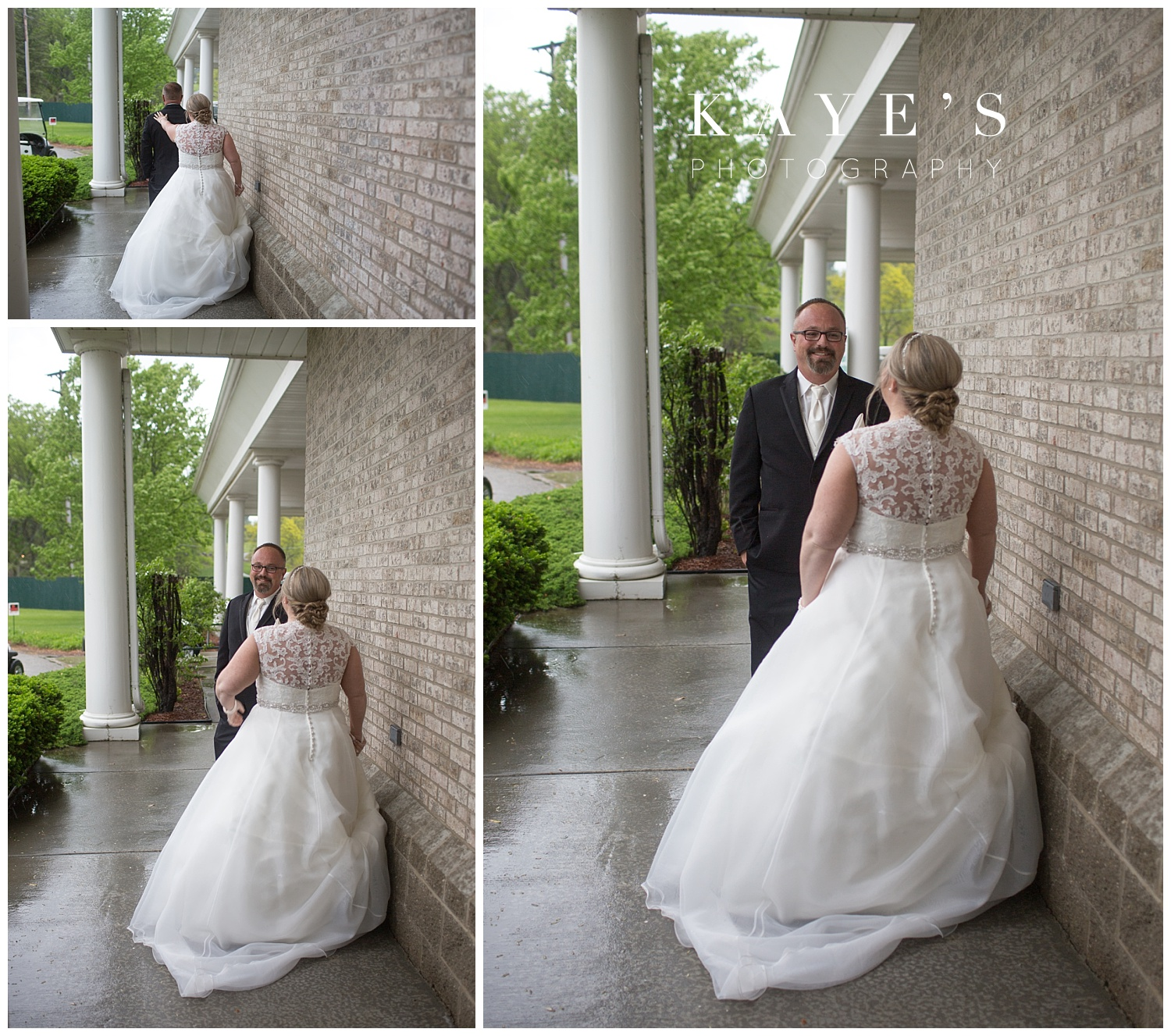first look photos at flushing valley golf course wedding