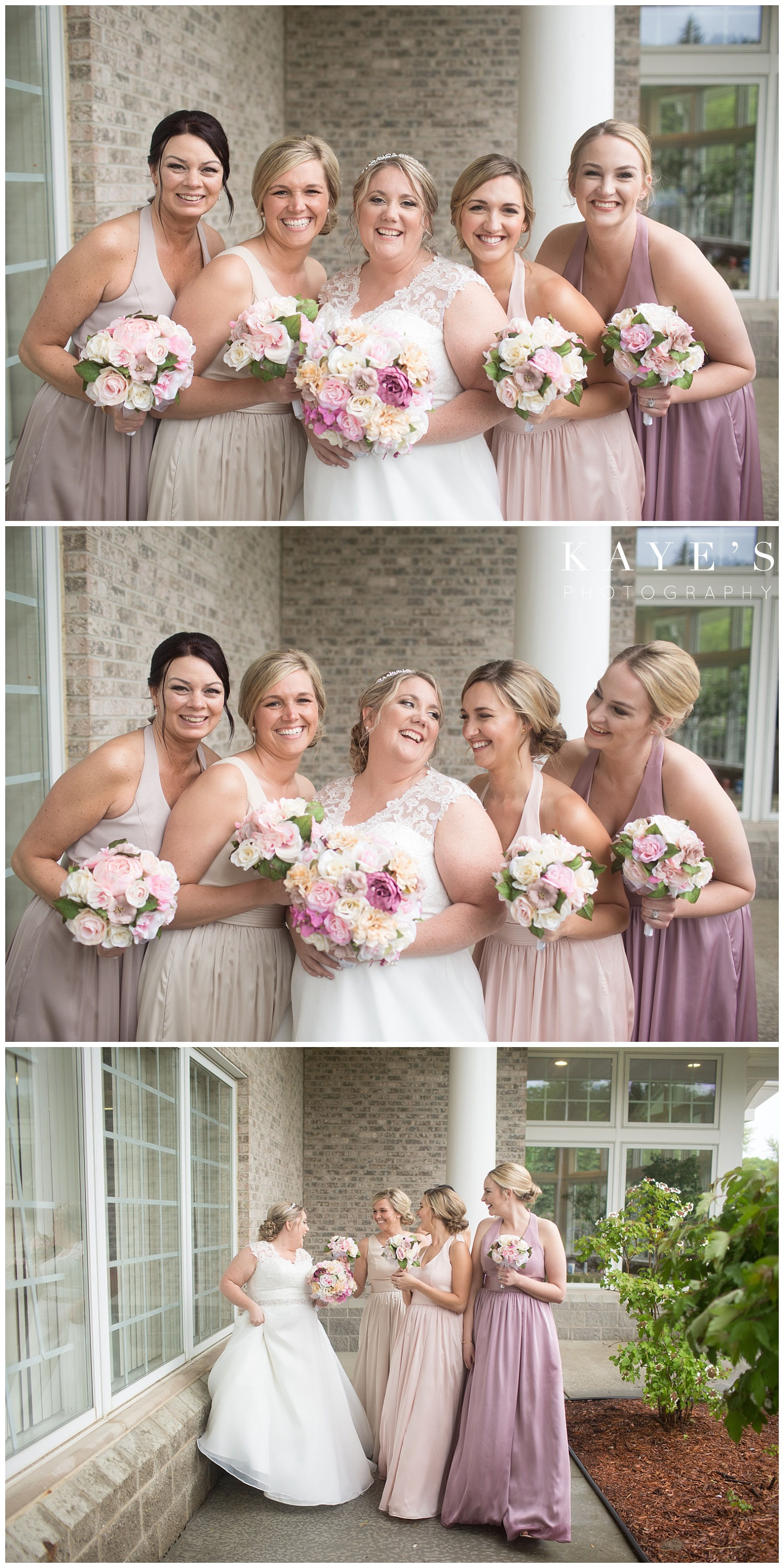 bride and bridesmaids in neutral bridesmaids dresses before the wedding ceremony
