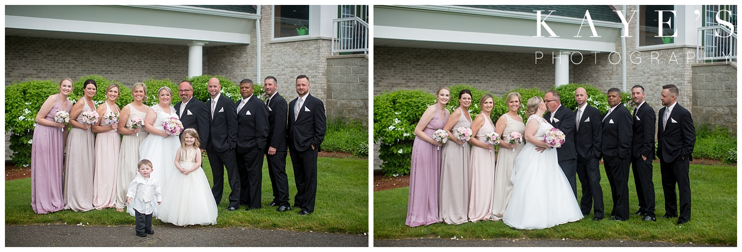 bridal party in front of flushing valley golf course