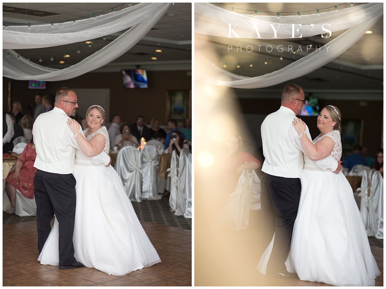first dance with bride and groom at reception at flushing valley golf course