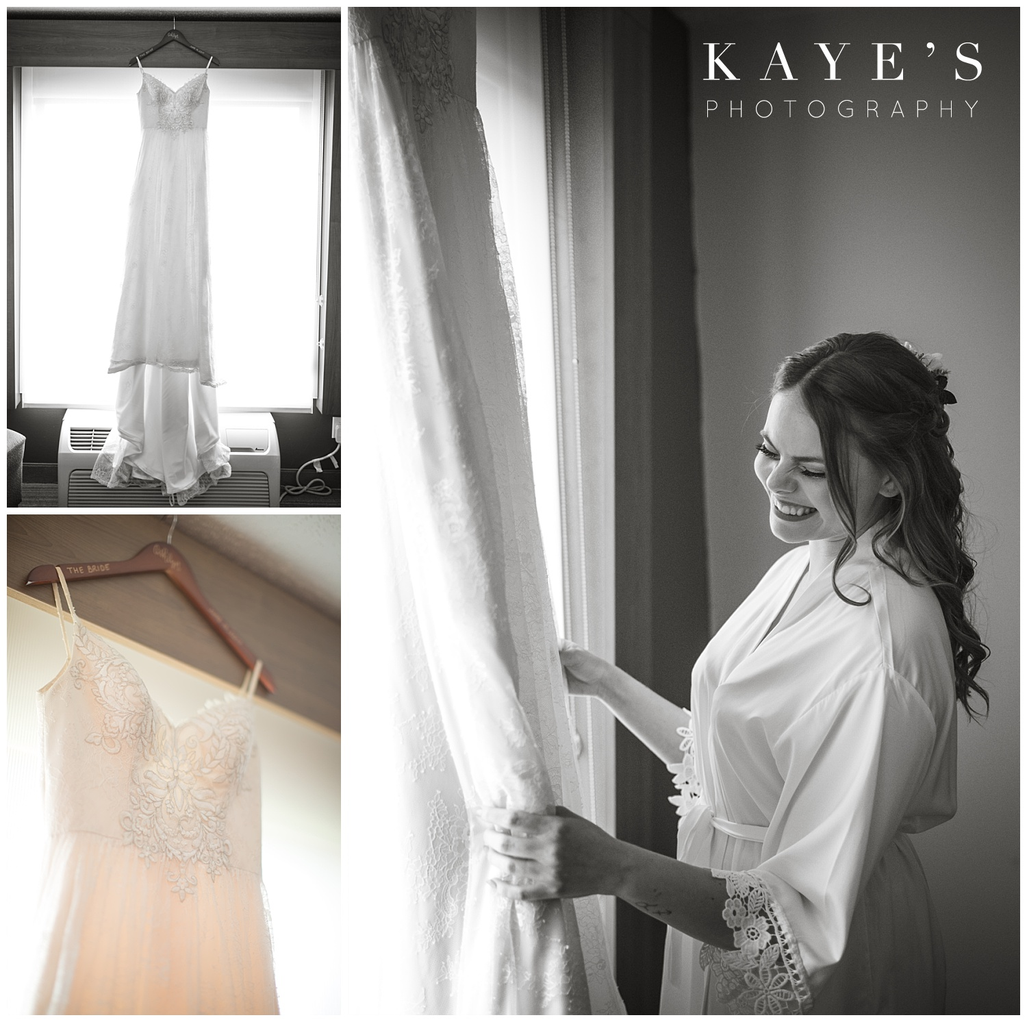 bride before wedding ceremony with her wedding dress at warwick hills in grand blanc michigan
