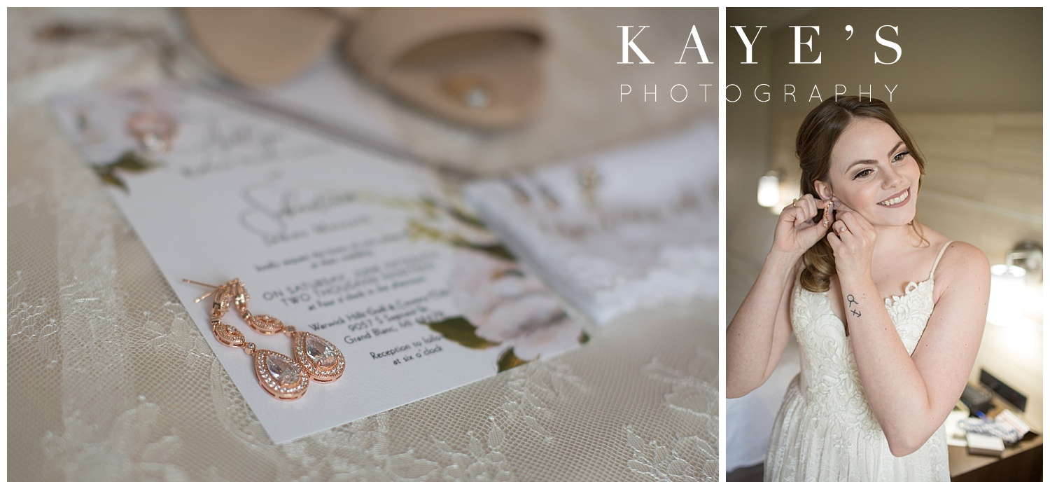 wedding details with florals for grand blanc michigan wedding