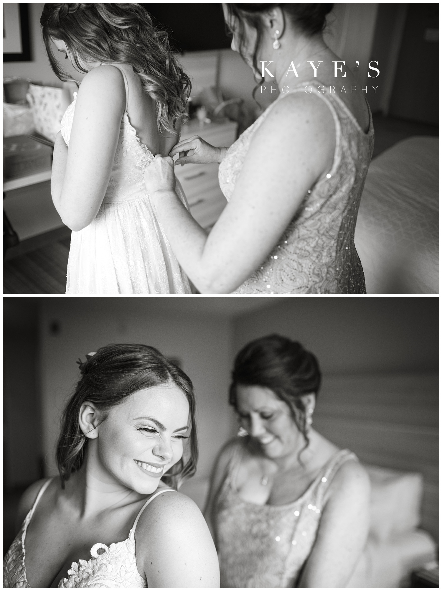 bride getting ready with mother before wedding ceremony