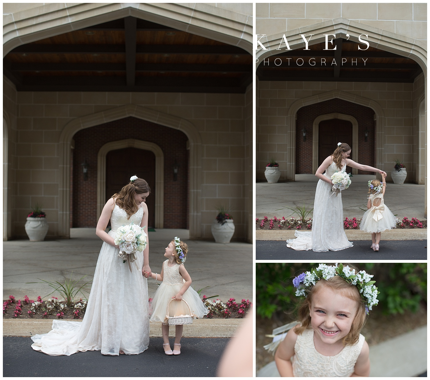 bride with flower girl before wedding at warwick hills in grand blanc michigan