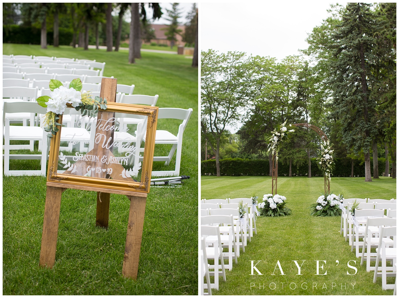 wedding ceremony details at warwick hills in grand blanc michigan