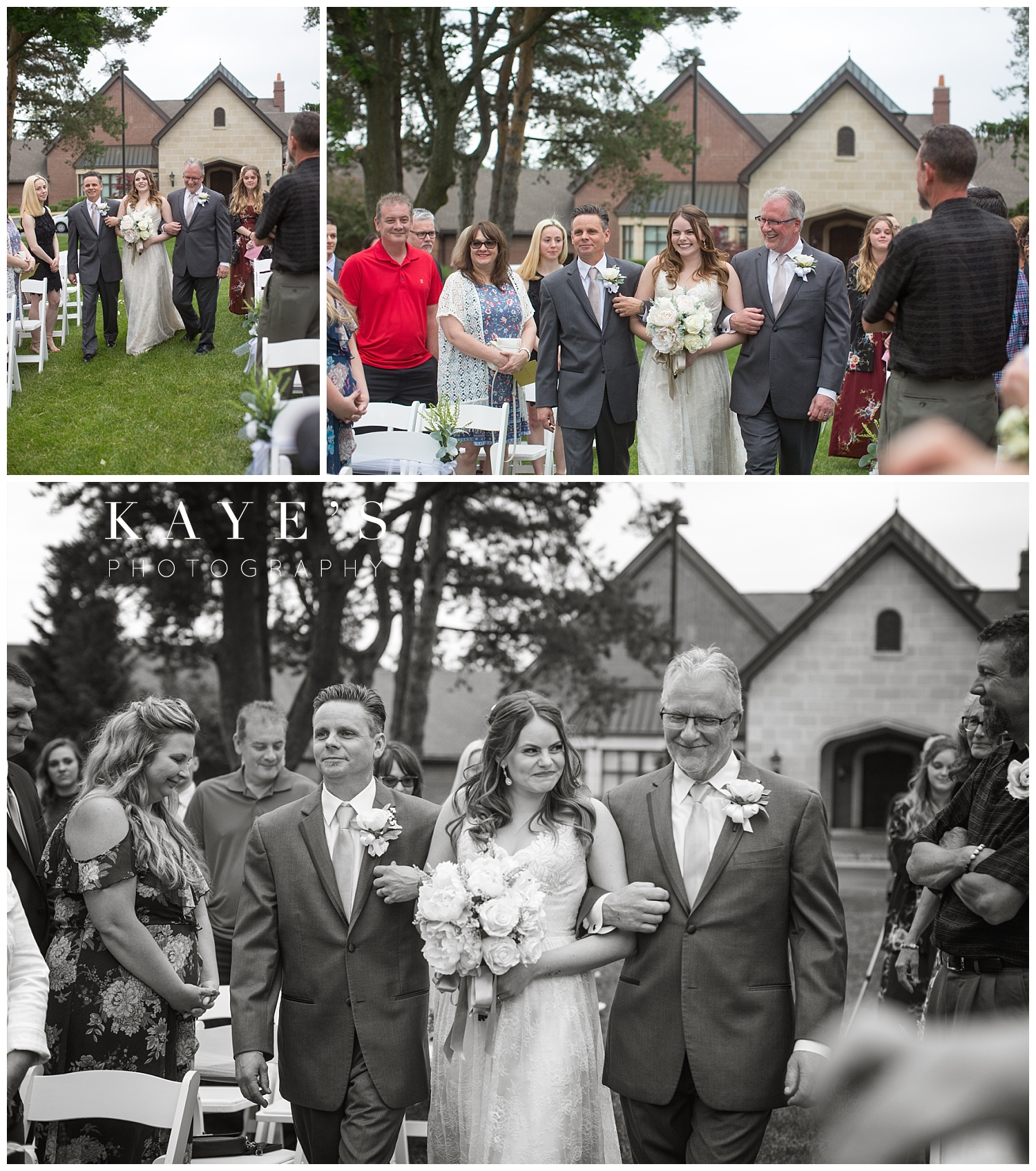 bride coming up the aisle with two fathers at warwick hills