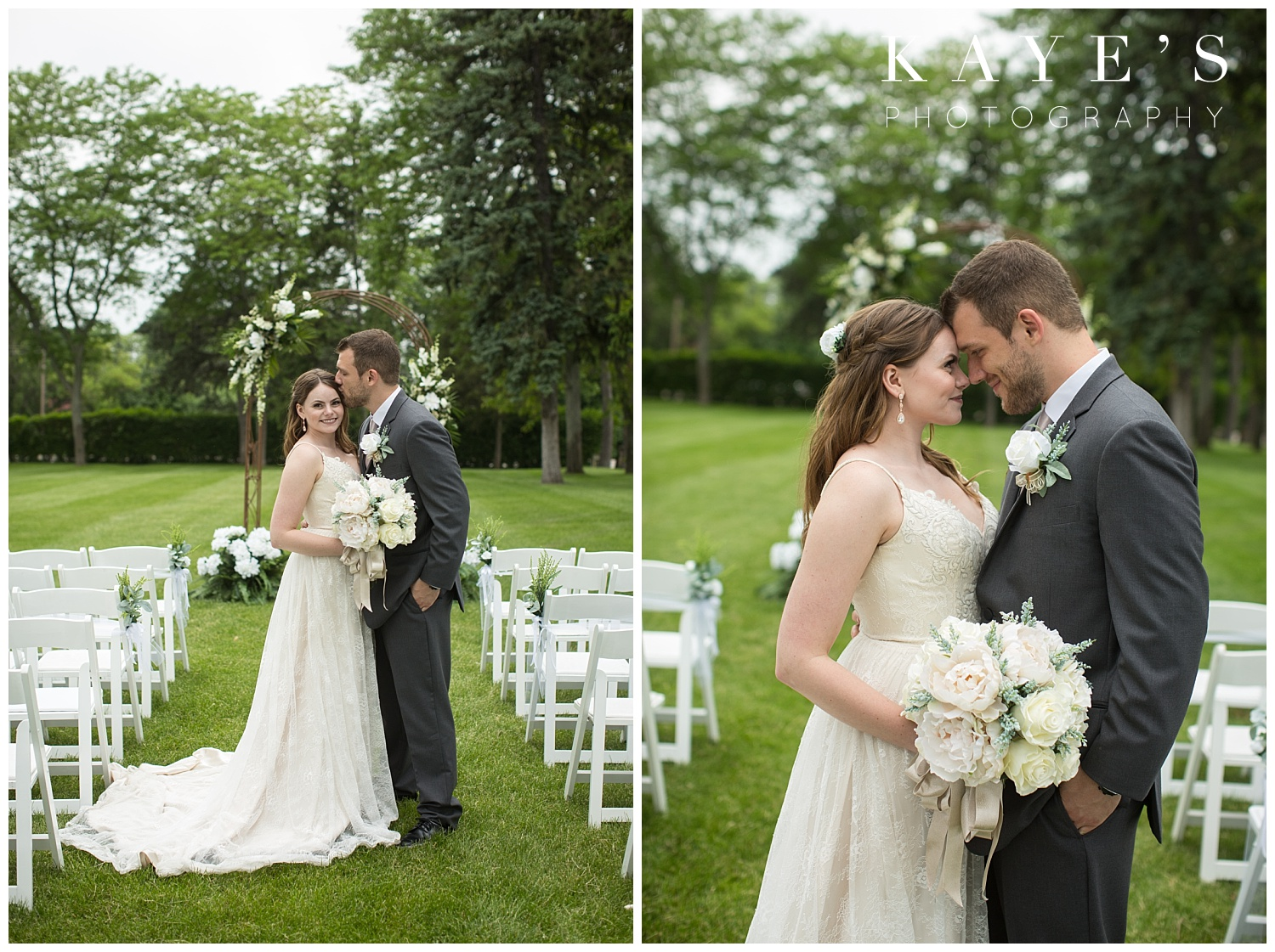 bride and groom portraits in the aisle of ceremony for wedding photos