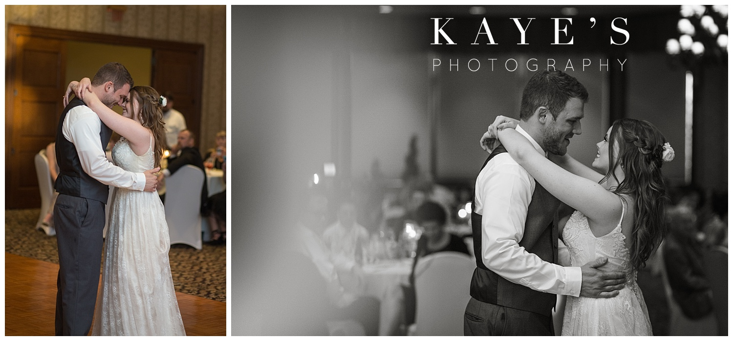bride and groom's first dance at warwick hills golf course