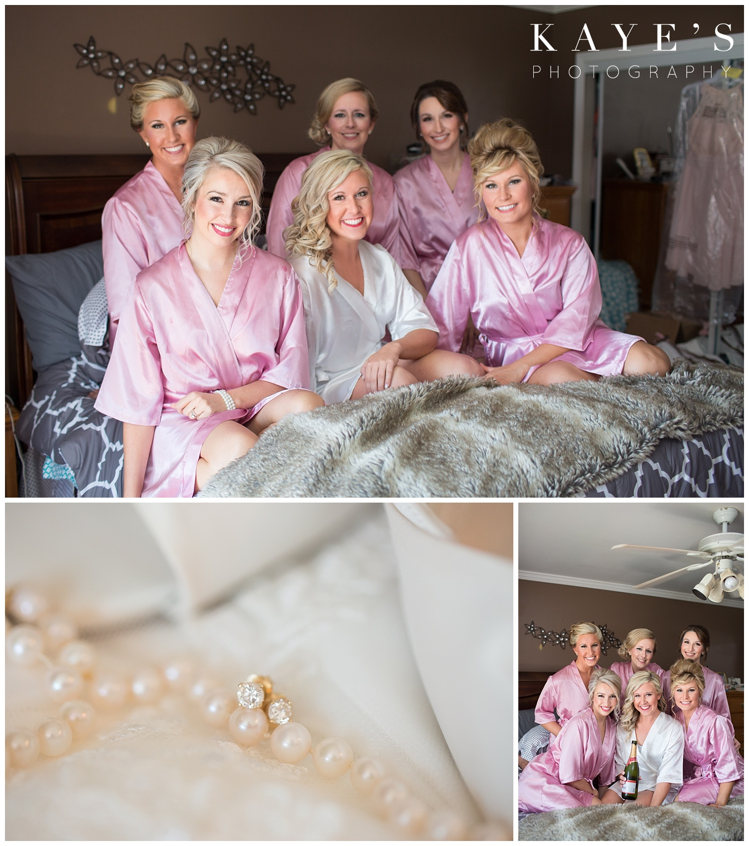 bridesmaids and bride in robes before wedding ceremony in davison michigan