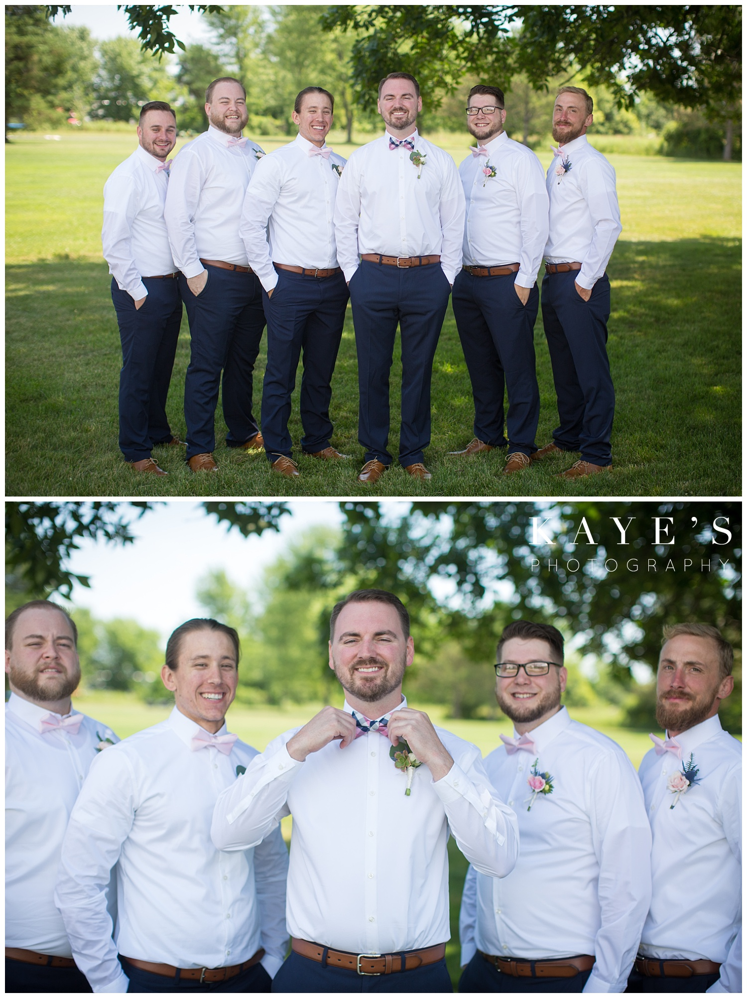 Groom with groomsmen during wedding photos before ceremony in davison