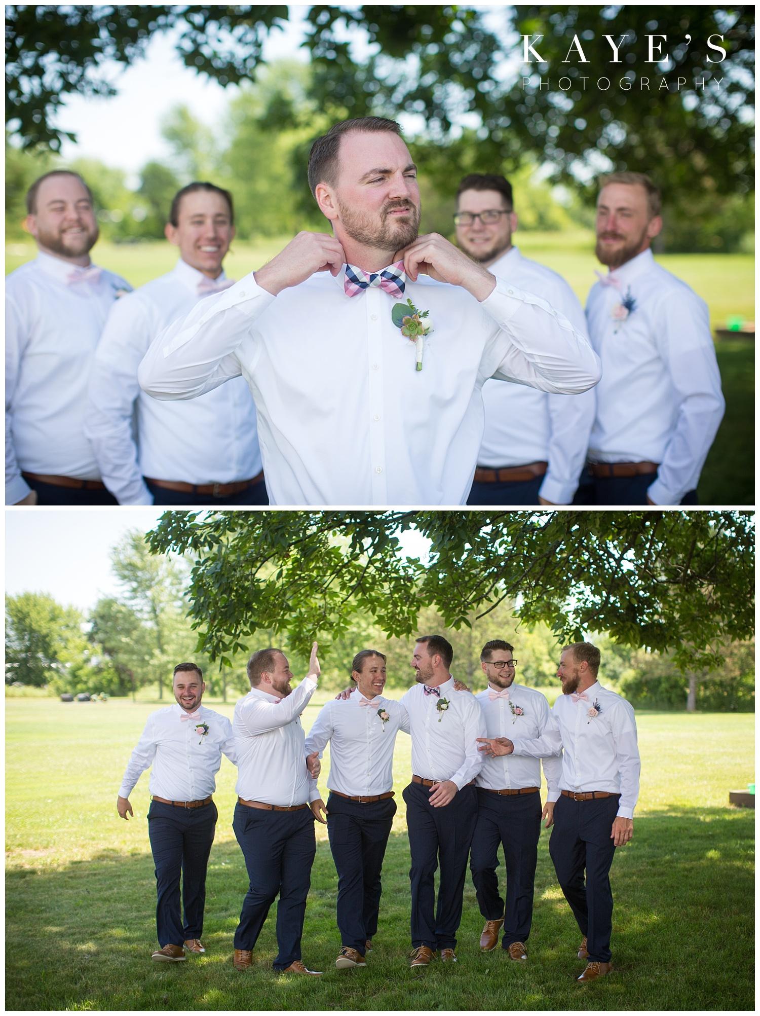 Groom getting ready before wedding in grand blanc michigan