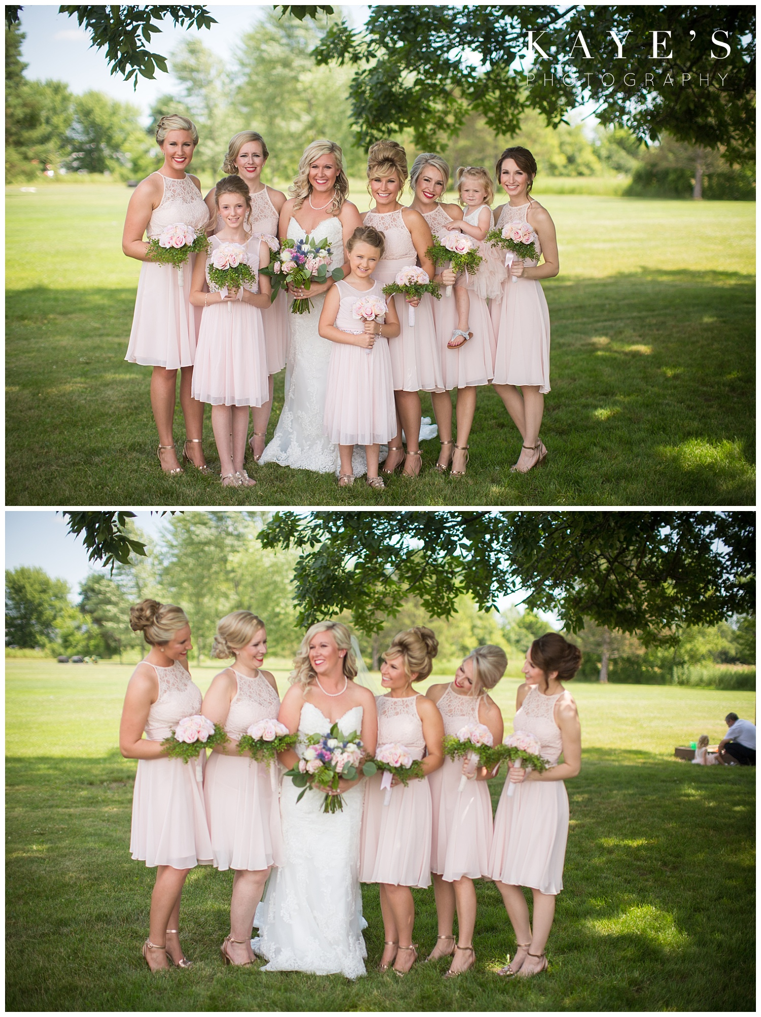 bride with bridesmaid photos before backyard wedding in grand blanc michigan
