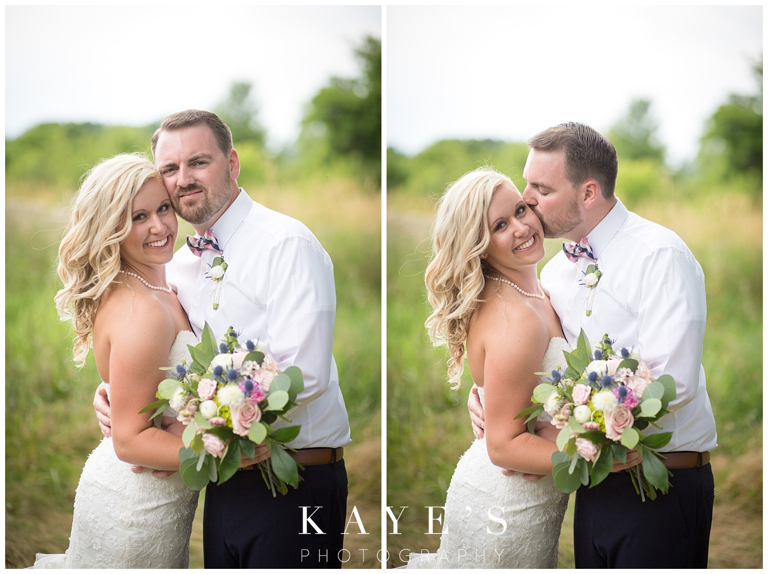 bride and groom portraits in a field during backyard wedding in grand blanc michigan