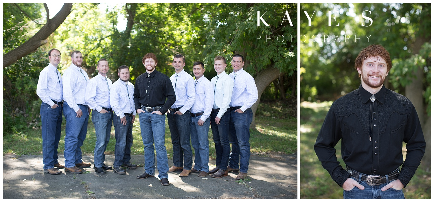 groom with groomsmen in genesee county wedding ceremony