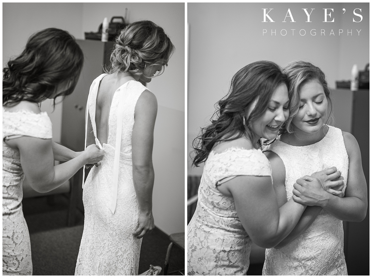 mother of bride getting ready with bride before wedding ceremony in genesee county michigan