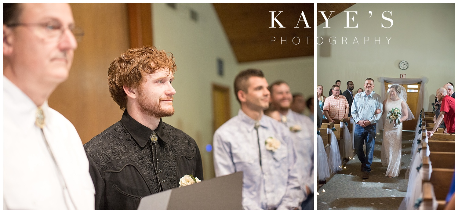 groom watching bride coming down the aisle at wedding ceremony in genesee county
