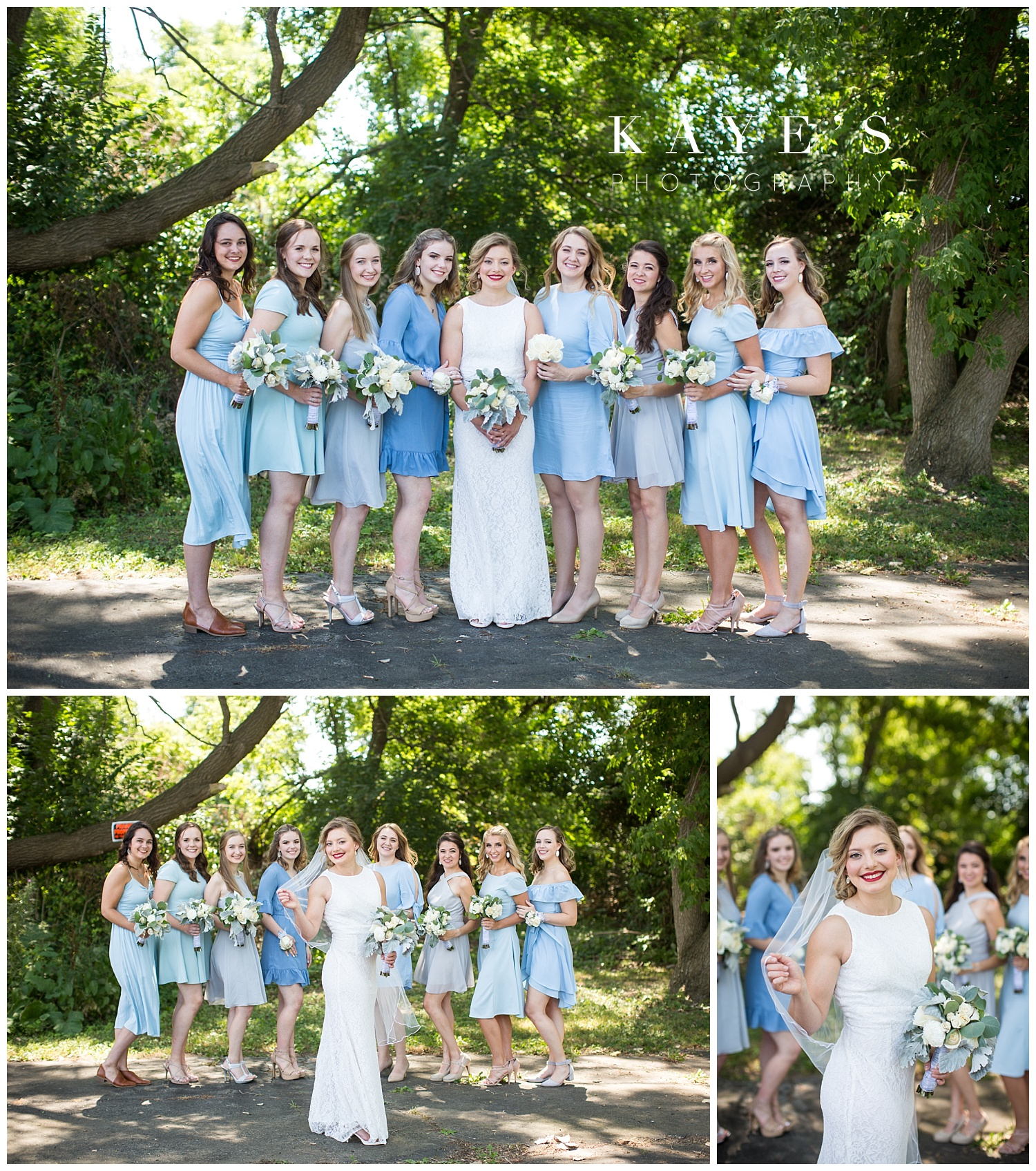 bride and bridesmaids in sky blue dresses before wedding ceremony in genesee county
