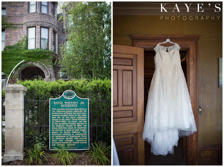 wedding dress hanging at the whitney in detroit michigan