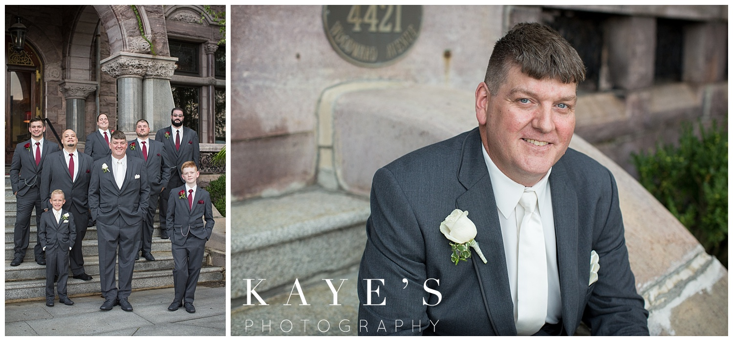 groom portraits in Detroit michigan at the Whitney
